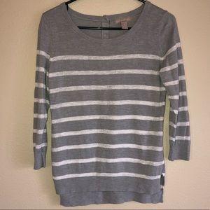 Banana Republic Striped Sweater Gray White Medium
